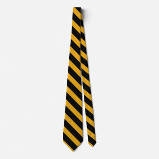 Black and Yellow-Gold Collegiate-Striped Necktie