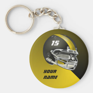 Black and Yellow Gold Football Helmet Basic Round Button Keychain
