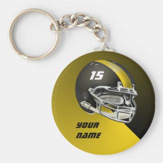 Black and Yellow Gold Football Helmet Keychain