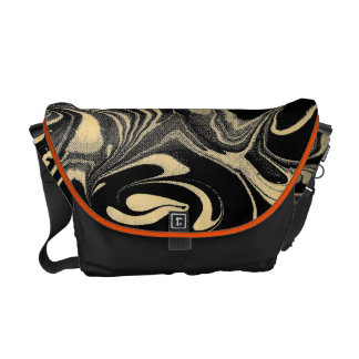 Black And Yellow Gold Marble Swirls Pattern Courier Bag
