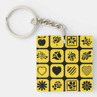 Black and Yellow Heart and Flower Squares Pattern Keychain