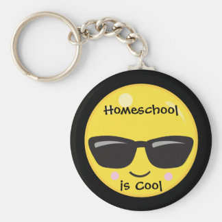 Black and Yellow Homeschool is Cool Emoji Keychain
