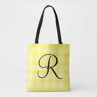 Black and Yellow Initial Tote