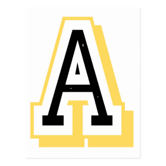 Black and Yellow Letter A Postcard