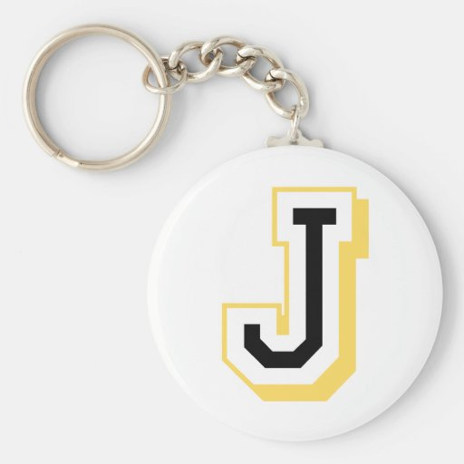 Black and Yellow Letter J Keychains