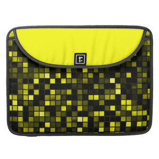Black And Yellow 'Meteor Shower' Squares Pattern Sleeve For MacBook Pro