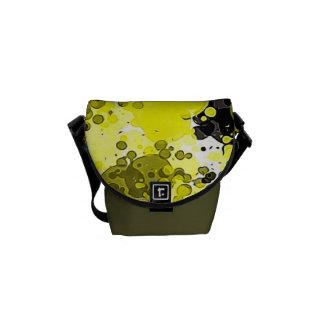 Black and Yellow Modern Abstract Paint Splatter Messenger Bag