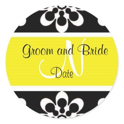 Black and Yellow Modern Wedding Favor Sticker by jgh96sbc