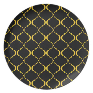 Black and Yellow Moroccan Pattern Dinner Plate  sc 1 st  Zazzle & Black Moroccan Plates | Zazzle