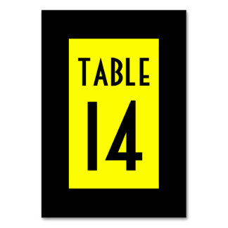 Black and Yellow Numbered Table Card