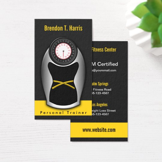 Black and Yellow Personal Trainer Bathroom Scales Business Card