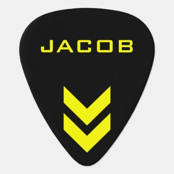 Black And Yellow Personalized Name Guitar Pick by ShabzDesigns at Zazzle