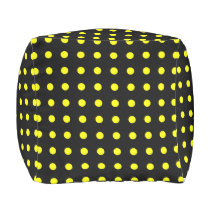 Black and Yellow Polka Dot Outdoor Pouf