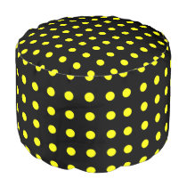 Black and Yellow Polka Dot Pouf