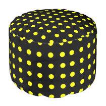Black and Yellow Polka Dot Pouf
