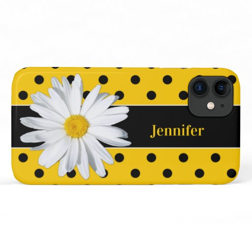 Black and Yellow Polka Dots, Daisy iPhone 11 Case