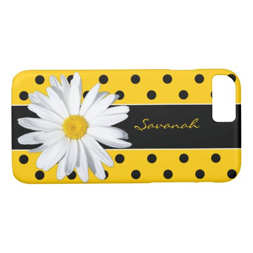 Black and Yellow Polka Dots, Daisy iPhone 8/7 Case