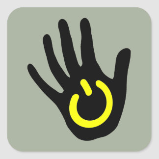 Black and Yellow Power Hand Square Sticker