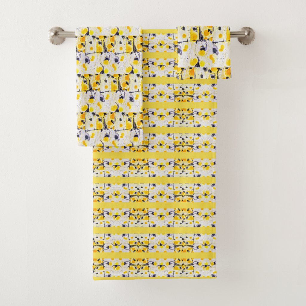 Black and Yellow Print Towel Set