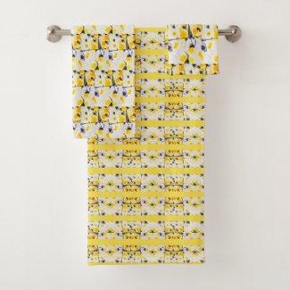Black and Yellow Print Towel Set
