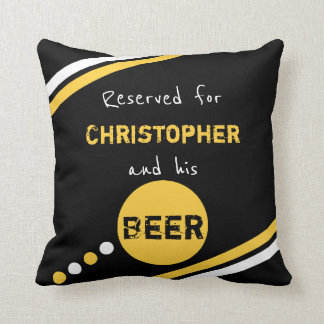 Black and yellow reserved for beer throw pillow