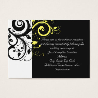 Black and Yellow Reverse Swirl Business Card