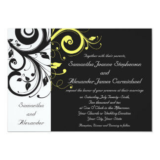 Black and Yellow Reverse Swirl 5x7 Paper Invitation Card