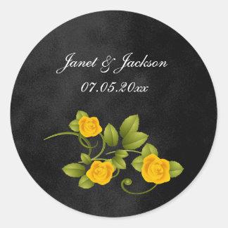 Black and Yellow Rose Wedding Classic Round Sticker