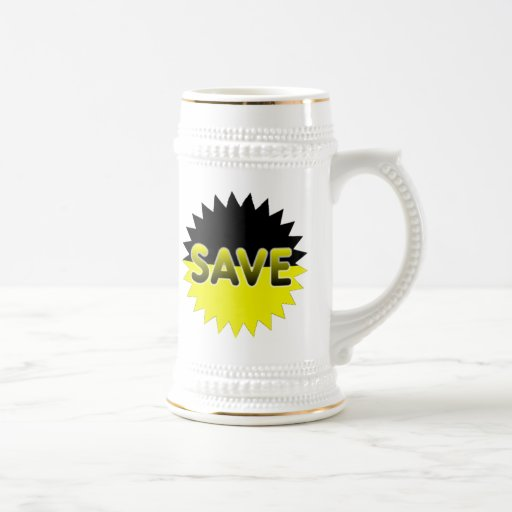 Black and Yellow Save Beer Stein
