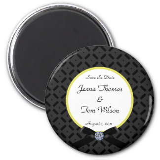 Black and Yellow Save the Date Magnet