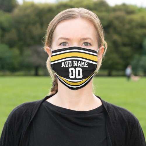Black and Yellow Sports Jersey Custom Name Number Cloth Face Mask