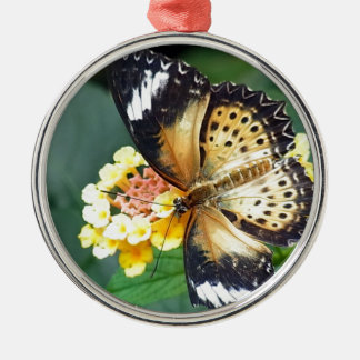 Black and Yellow Spotted Butterfly Metal Ornament
