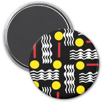 Black and Yellow Squiggles Textile Magnet