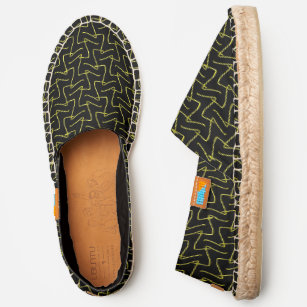 b112afa72336b Black and Yellow Squiggly Lines Tribal Pattern Espadrilles