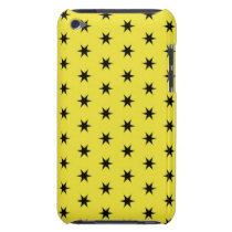Black and Yellow Star Pattern iPod Touch Case