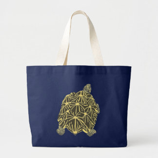 Black and Yellow Star Tortoise Tote Bag