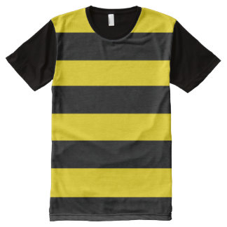 Black and Yellow Striped All-Over Print T-shirt