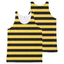 Black and Yellow Striped All-Over Print Tank Top