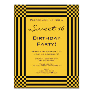 Black and Yellow Stripes Sweet 16 Birthday Party Card