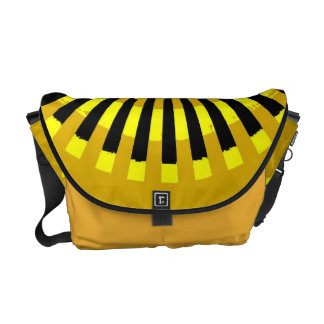 Black and Yellow Stripey Sun Burst Abstract Art Courier Bag