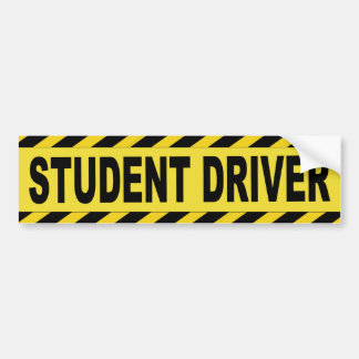 Black and Yellow Student Driver Car Bumper Sticker