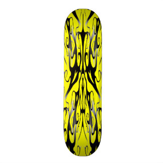 Black and Yellow Tribal Elegance Digital Collage Skateboard Deck