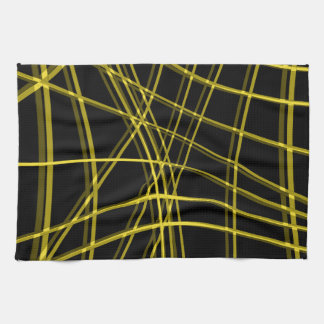Black and yellow warped lines hand towels
