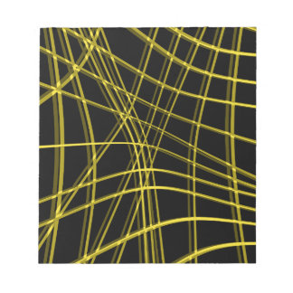 Black and yellow warped lines notepad
