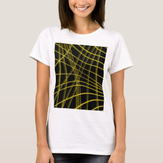 Black and yellow warped lines T-Shirt