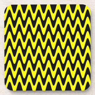 Black and Yellow Wavy Zigzag Beverage Coaster