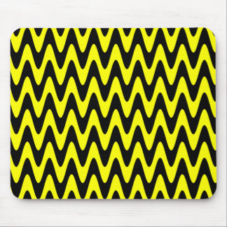 Black and Yellow Wavy Zigzag Mouse Pad
