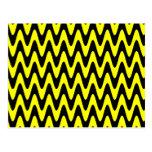 Black and Yellow Wavy Zigzag Postcard