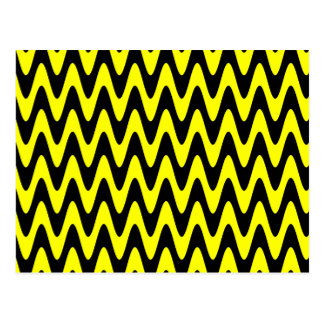 Black and Yellow Wavy Zigzag Postcard