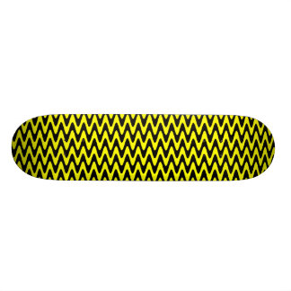 Black and Yellow Wavy Zigzag Skateboard Deck